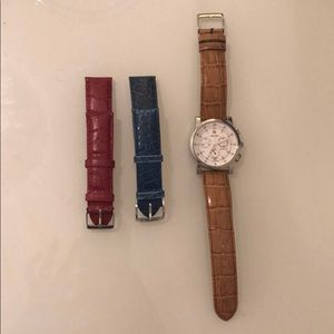 Stainless steel Michele watch with three straps